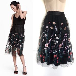 H&M Embroidered Floral Midi Skirt